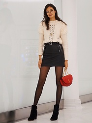 Gizele Oliveira - Topshop Sweater, Topshop Skirt, Nasty Gal Tights, Tabitha Simmons Boots, Saint Laurent Bag - Candy Cane