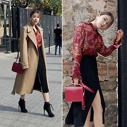 Rekay Style - Joseph Camel Coat, Uterque Paisley Silk Blouse, &Otherstories Slit Skirt, Marni Sculpture Bag, Steve Madden Lace Up Boots - Camel Coat look