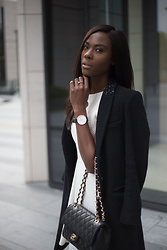 Danydsha Naomi - Karl Lagerfeld Wool Coat, Chanel 2.55, Daniel Wellington Rose Gold 40mm - Breezy