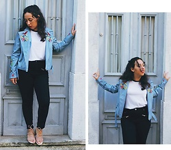 Mafalda M. - Rosegal Embroidered Blue Pu Leather Jacket, Rosegal White Printed T Shirt, Forever 21 Zippered Black Jeans, Mango Nude Lace Up Sandals - BLUE EMBROIDERY