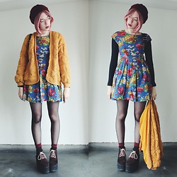 Candy Thorne - Valley Girl Floral Dress, Shibuya 109 Leopard Platforms, Thrifted Mustard Cardigan - ? Mannequin ?