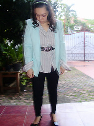 Tya Tanjung - Alfred Dunner Blazers, Marie Claire Pumps Shoes - Light Blue On