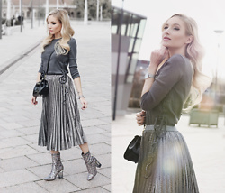 Chloe From The Woods - Sheinside Grey High Waist Pleated Skirt, Sheinside Dark Grey Lace Up Side High Low Sweater, Sheinside Black Turnlock Strap Closure Plastic Satchel Bag, Public Desire Chloe Perspex Heeled Ankle Boots In Multi Glitter - SILVER LINE