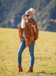 Tijana J.D - Dolce & Gabbana Black Cat Eye Sunglasses, H&M Leopard Scarf, Choies Brown Suede Fringed Poncho, Choies Fluffy White Sweater, H&M Blue Skinny Jeans, Tex Brown Suede Ankle Boots - From Andorra with love