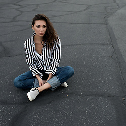 Tienlyn . - Striped Button Up, Leather Sneakers, Circle Earrings - FROM THE GROUND UP