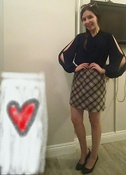 Sheri - Forever 21 Cut Out Blouse, Burberry Skirt Mini, Black Patent Leather Pumps - Love Yourself