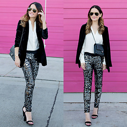 Jenn Lake - Express Silver Sequin Leggings, Express Black Velvet Blazer, Express Ivory Scalloped Lace Blouse, Express Black Ankle Strap Sandals, Chanel Medium Quilted Flap Bag, Express Aviator Sunglasses - Silver Sequin Leggings