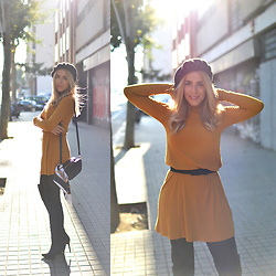 Cris M. -  - Mustard Dress & Over the Knee Boots
