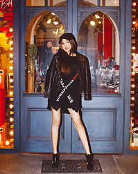 Mei Wakasa - Vibrate Piercing Ball Cap, All Saints Papin Leather Biker Jacket, Atar Psln Long Sleeve T Shirt Black, Axes Geometry Highheel - Autumn Party Night