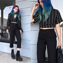 Mickylene Delgado - Missguided Striped Choker Crop Top, Public Desire Cleared Platform Boots - Edgy Chic