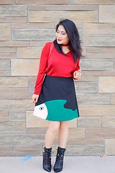 Color AndGrace - Stylewe Red Viscose V Neck Sweet Blouse, Stylewe Black Casual A Line Color Block Mini Skirt - It is easy to be stylish with Stylewe