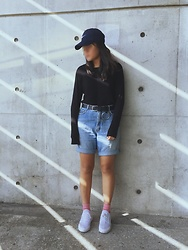Christinachen - Vintage Denim, Nike Shoes, Nike Hat - School look