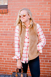 Taylor Reese - Jcrew Fleece Vest, Louis Vuitton Speedy Satchel, Jcrew Plaid Shirt - Plush Fleece & Flannel