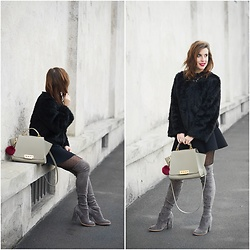 Eleonora Pellini - Sol Sana Over The Knee Boots, Zac Posen Beige Bag, Pull & Bear Neoprene Skirt - Over the top