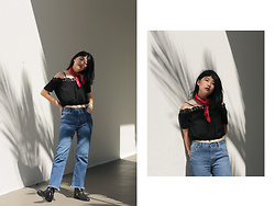 Melisa A - The Editor's Market Off Shoulder Top With Laces, Stradivarius Flare Jeans, Topshop Ankle Boots, Bandana - ON HOLD
