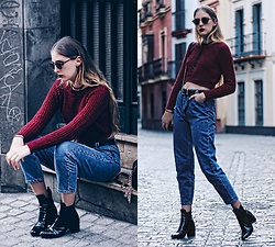 Marta M - Missguided Crop Top, Pull & Bear Mom Jeans, Zara Boots - B U R G U N D Y