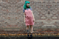 Jessica Gutteridge - H&M Shift Dress, Mystic Luna Alien Striped Crop Top - Grungy Shift Dress & Green hair!