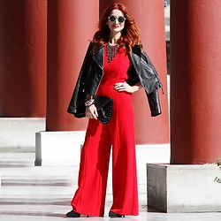 Redhead Illusion by Menia - Mango Leather Jacket, Denny Rose Necklace, Bsb Jumpsuit, Steve Madden Bag, Peter Pilotto Sunglasses - It's not just the color!It's the way you feel it wearing it!