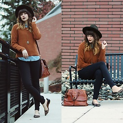 Mackenzie S - Mo:Vint New York Pumpkin Sweater, Gap Black Skinny Jeans, Gap Floral Chambray, Forever 21 Wool Hat, Dooney And Bourke Florentine Clayton Bag, Target Leopard Print Flats, H&M Locket Necklace - Pumpkin Spice Sweaters