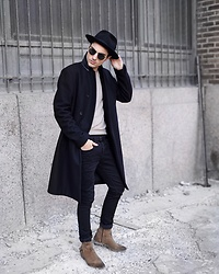 Phil Valles - Allsaints Jacket, Topman Boots, Allsaints Denim, Goorin Brothers Hat, Uniqlo Sweater - Off-Duty