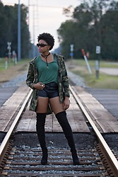 Candace Hampton - Missguided Camo Parka, Asos Over The Knee Boots, Boohoo Basic V Neck Tee - At Attention