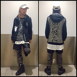 @KiD - Uniqlo Diy Joy Division Jacket, Joy Division Tee, Blood In The New Black Joy Divisoin Leggins, Alexander Mcqueen Black Sneaker, Diy Hate Cap - Japanese Trash 66