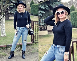 Kasia Koniakowska - Sweater, Zara Hat, Zara Jeans Boyfriend, Sunglasses, Bag - Black and jeans