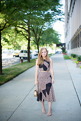 Ashley Hutchinson - Cedric Chandelier Lace Pop Print Dress, Target Nudist Sandals, Chloé Gold Crossbody Bag - Easy Elegance