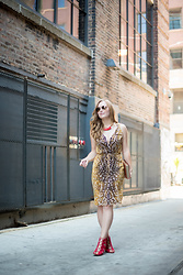 Ashley Hutchinson - Ben Amun Red Resin Necklace, Magaschoni Deer Print Dress, Joie Red Suede Lace Up Sandals, Kate Spade Dictionary Book Clutch, Ray Ban Gold Aviators - Summer Date Night