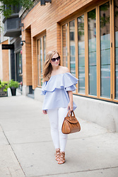 Ashley Hutchinson - Shein Off The Shoulder Ruffle Blouse, J Brand White Distressed Jeans, Forever 21 Tan Lace Up Wedges, Alexander Mcqueen Tan Drop Satchel - Summer Casual