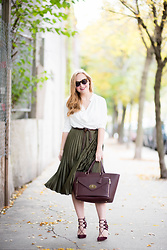 Ashley Hutchinson - Finders Keepers The Label Cowl Neck Blouse, Topshop Green Pleated Skirt, Aquazzura Burgundy Suede Lace Up Pumps, Mulberry Burgundy Tote, Karen Walker Tortoise Sunglasses - Burgundy & Green