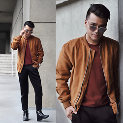 Michael Macalos - Bershka Suede Bomber Jacket, Daniel Wellington Watch, Zara Shirt - My daily fit