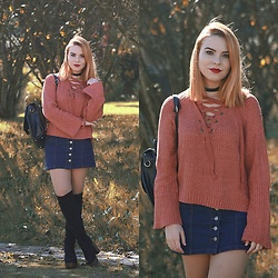 Carina Gonçalves - Rosewholesale Sweater, Choies Skirt, La Moda Boots - Got these thoughts in my head, Ain't no way to forget