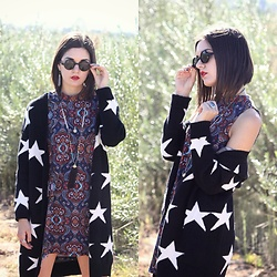 Lexi L - Stylewe Star Knitted Cardigan, Sleeveless Shift Dress, Bohobetty Beaded Tassel Necklace - The Stars Are Falling On Me
