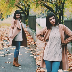 Kinga - Sheinside Camel Coat, H&M Knit Sweater - These Boots Are Made for Walkin'