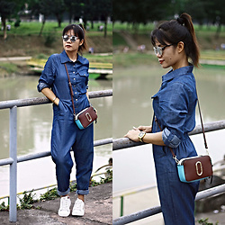 Jenniya Yah - Irisie Denim Jumpsuit, Crossbody Bag - Weekender Outfit
