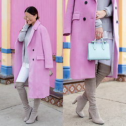 Jenn Lake - Chic Wish Long Pink Coat, Stuart Weitzman Highland Over The Knee Boots, Strathberry Nano Tote, Nordstrom Grey Layered Sweater, Paige Denim White Skinny Jeans, Quay High Key Sunglasses - Long Pink Coat