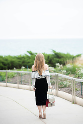Ashley Hutchinson - Sheinside Off The Shoulder Blouse, Givenchy Black Velvet Midi Skirt, Target Nudist Sandals, Gucci Dionysus Bag - Black Velvet Skirt