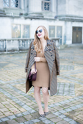 Ashley Hutchinson - Burberry Striped Raffia Trench Coat, Forever 21 Tan Knit Sweater Dress, Sole Society Burgundy Crossbody Bag, Sole Society Striped Kitten Heel Pumps, Wolford Spotted Tights - Stripes & Spots & Stripes