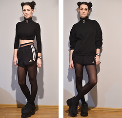 Klaudia - Adidas Shorts, Topshop Crop Top, H&M Sweatshirt, Buffalo Platforms, Swatch Watch -    black russian
