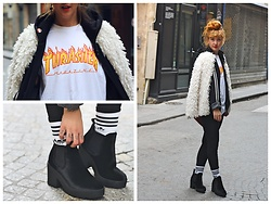 Anna Hurricane - Trasher Mag Tee, Adidas Hoodie, Etam White Fake Fur, H&M Black Leggings, Adidas Socks, New Look Velvet Boots - Black And White