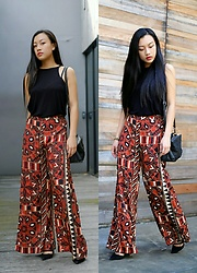 Elizabeth Hwang - H&M Trousers With Exotic Print, H&M Black Vest, Zara Leather Heels - Late autumn. waiting for winter in taipei.