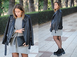 Claudia Villanueva - Happiness Boutique Earrings, Zara Jacket, Zaful Sweater Dress, Aliexpress Clutch, Asos Boots - In Trend: Sweater Dress