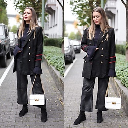 Livia Auer - Loavies Military Jacket, Loavies Pinstripe Pants, Lanvin Jiji Bag - Military Jacket & Pinstripe Pants