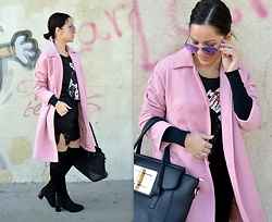 Marija M. - Gamiss Pink Coat, Terranova Black Lace Skirt, Gamiss Over The Knee Boots - Pink coat