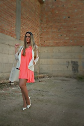Emma MAS - Sammydress Coral Dress - White and coral