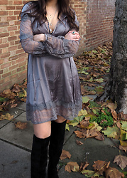 Lauren Rose Bell - Boohoo Silk Dress, H&M Layered Necklace, Primark Knee High Boots - THE SILK NUMBER