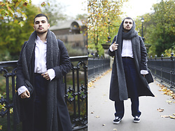 Gerard Molón - Handmade By Grandmother Scarf, Zara Shirt, Shores Overcoat, Asos Jeans, Vans Trainers - OVERSIZED HEAD TO TOE