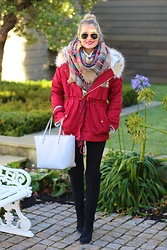 Martina Reynolds - Sheinside Red Parka Jackat, Hm Over The Knee Boots, Scarf Shein - Winter Wonderland