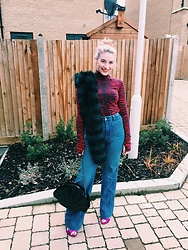 Maria Nichol - New Look Faux Fur Stole, H&M X Kenzo Roll Neck, H&M Flares, New Look Metallic Mules - Faux Fur and Flares